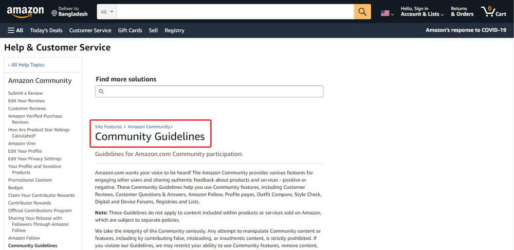 Amazon Community Guidelines